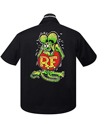 (Steady Clothing Men's Rat Fink Roth Racer Button Up Shirt, Black, X-Large)