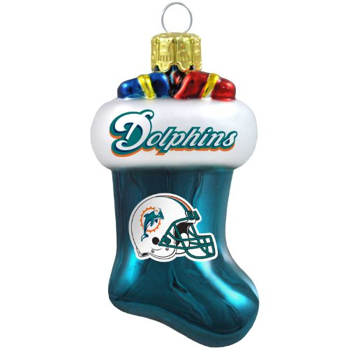 NFL Miami Dolphins Blown Glass Stocking Ornament