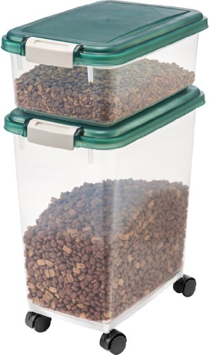 (IRIS Airtight Pet Food Treat Storage Container Combo, Green)