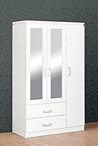 Seconique Charles 3 Door 2 Drawer Mirrored Wardrobe in White