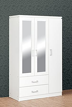 official photos 0bb34 dabe0 Seconique Charles 3 Door 2 Drawer Mirrored Wardrobe in White