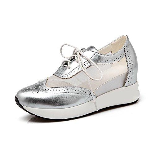 AllhqFashion Damen Rund Zehe Schnüren Blend-Materialien Rein Hoher Absatz Pumps Schuhe Silber