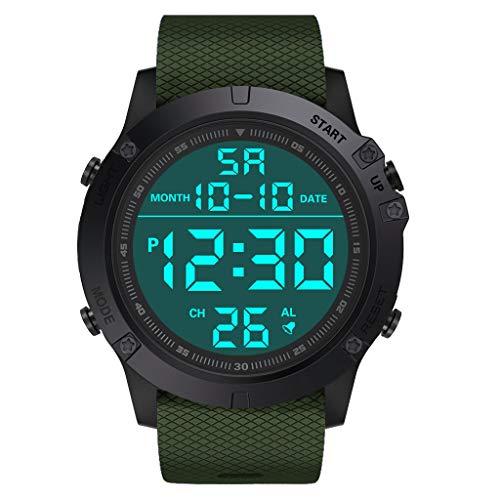 Sports Watch,Watch for KidsFashion Men's Military Sports Watch Luxury LED Digital Water Resistant Watch(Army Green)