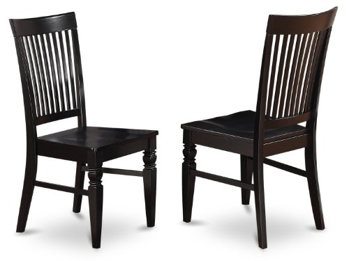 Slatted Back Chairs - East West Furniture WEC-BLK-W Wood Seat Dining Chair Set with Slatted Back, Black Finish, Set of 2