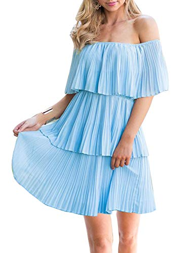 (Soesdemo Women¡¯s Casual Off The Shoulder Sleeveless Tiered Ruffle Pleated Party Cocktail Dress Blue)