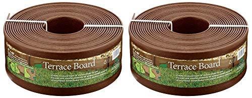 Master Mark Plastics 95340 Terrace Board Landscape Edging Coil, 5-inch x 40-Foot, Brown (2 Pack, Plastics)