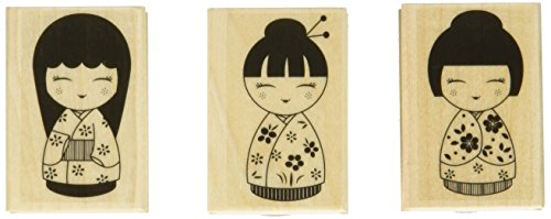 41FSCLPGjRL - Hero Arts Mounted Rubber Stamp, 3 by 1.5-Inch, 3 Japanese Dolls
