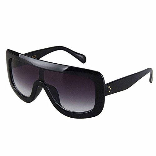 AStyles - Oversized Big Shield Celebrity Designer Adele Flat Top Women's Sunglasses (Black, - Celebrity Sunglasses Top