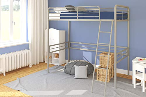 Twin Loft Bed with Built-In Ladder, Silver
