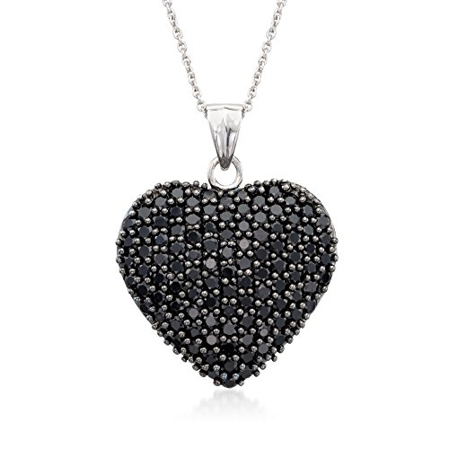 (Ross-Simons 4.00 ct. t.w. Black Spinel Heart Pendant Necklace in Sterling Silver)