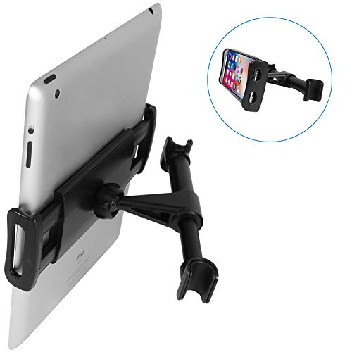 (Macally Car Headrest Mount for Phone & Tablet Holder with 360° Secure Cradle for Apple iPad Mini Air iPhone Xs XS Max XR X 8 Plus, Samsung Galaxy Tab Tablets Phones, Nintendo Switch & Kindle Fire etc)