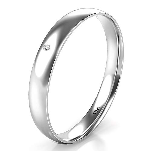 Sz 4.0 Solid 10K White Gold Diamond 3MM Dome Wedding Anniversary Band Ring
