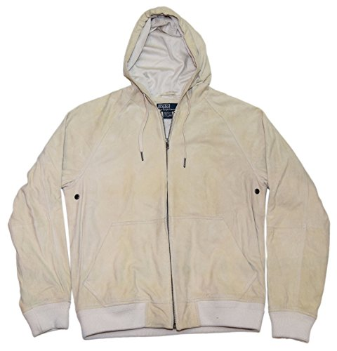 Polo Ralph Lauren Mens Suede Leather Hooded Jacket Coat Off White Cream Medium
