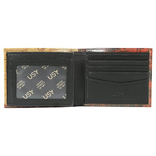 2 Unique Flag Vintage Bifold with Wallet Window Leather Red Men Wallet Designs Ca Genuine Stylish Hollywood for ID Printed wFUx7qpTz