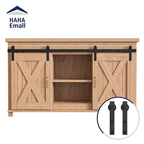 Hahaemall Heavy Duty Metal Steel Black Super Mini Sliding Barn Door Hardware Track Roller Kit Hanging TV Stand Cabinet System (5ft Double Kit)