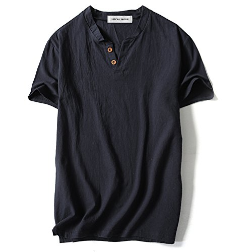 Black Market Vintage (LOCALMODE Men Linen and Cotton V Neck Short Sleeve T Shirts Casual Tee Black L)