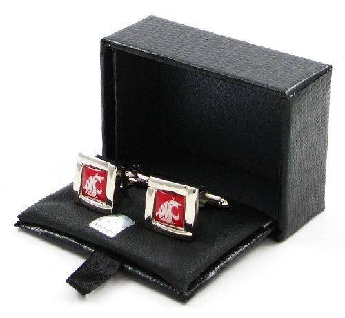 NCAA WashingtonStateCougars Square Cufflinks With Square Shape Engraved Logo Design Gift Box Set by aminco