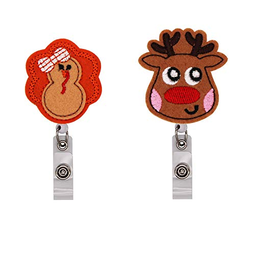 WOLUNWO Embroidery Retractable Badge Holder Reel on ID Name Card Holders with 360° Alligator Swivel Clip 2 Pack Reindeer and Turkey Series (Reindeer and Turkey)