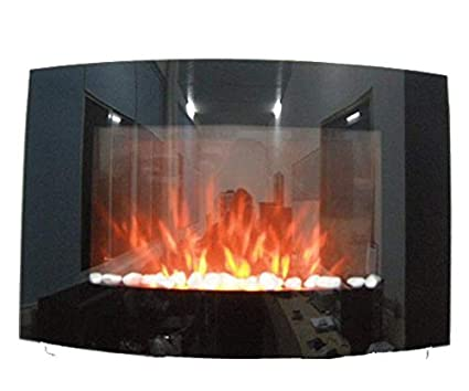 Tooltime - Estufa de pantalla para pared con efecto chimenea (tamaño grande, cristal,