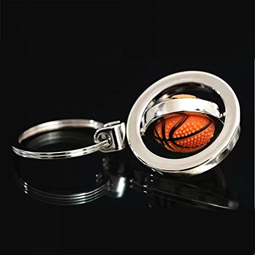 Creative Keychain Upgraded Metal Pendant with Cute Rotating Basketball Key Chain Keyring with Flash Bag -