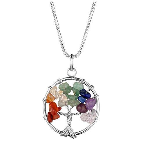 (Jovivi Tree of Life Pendant Quartz Crystal Necklace Gemstone Chakra Jewelry)