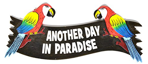 PARROTS Hand Carved Wooden ANOTHER DAY IN PARADISE Cocktails Drinking BEACH Surfboard Sign Carved Tiki Surfboard