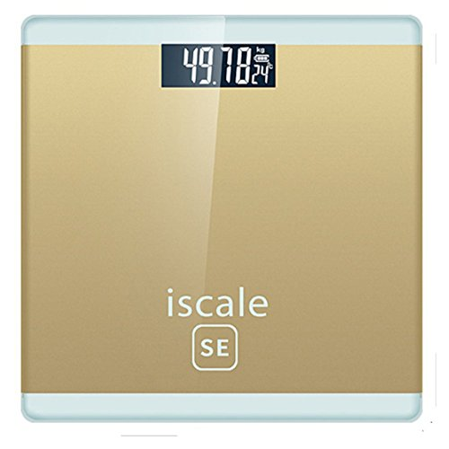 FLOLATIDIA Electronic Weight Scale Digital Body Bathroom Scale With Step-On Technology, 400 Pounds, Highly Accurate Digital Bathroom Body Scale Highly Accurate Weight Measurements (Gold) by FLOLATIDIA