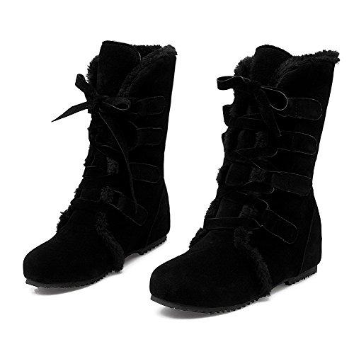 Allhqfashion Dames Solide Geïmiteerd Suede Lage Hakken Lace-up Ronde Dichte Neus Laarzen Zwart