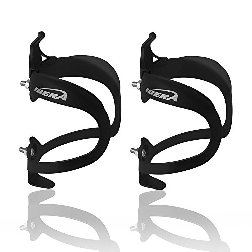Ibera Bicycle Lightweight Aluminum Water Bottle Cage, (Black(Pair))