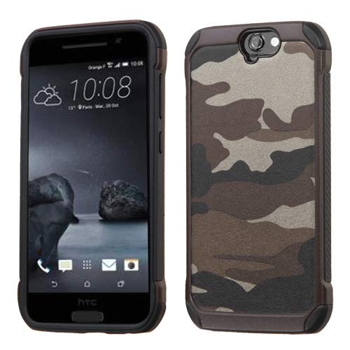 Asmyna Carrying Case for HTC-One A9 - Retail Packaging - Camouflage Gray Backing/Black