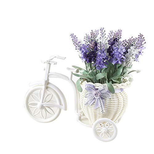 Homeofying - 1 ramo de flores de lavanda artificial de ratan con maceta para decoracion de bodas y fiestas