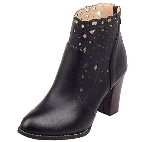 COOLCEPT Women Fashion Bootie Zipper Black AINNPzbx