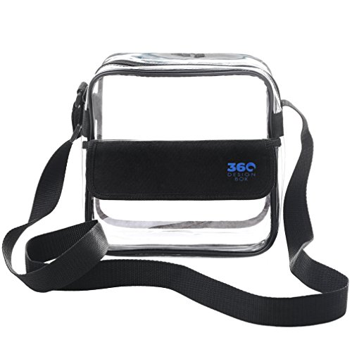Clear Cross-Body Messenger Shoulder Bag, Available in 2 Sizes, PGA, NCAA & NFL Stadium Approved Transparent Purse