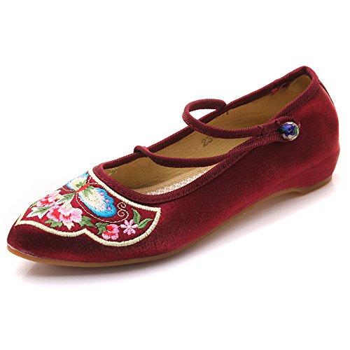 Mujeres Mulas Bordado sin Respaldo Abalorios botón Satén Cheongsam Zapatos Planos Vino Tinto