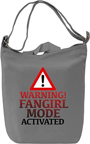Warning Fangirl Borsa Giornaliera Canvas Canvas Day Bag| 100% Premium Cotton Canvas| DTG Printing|