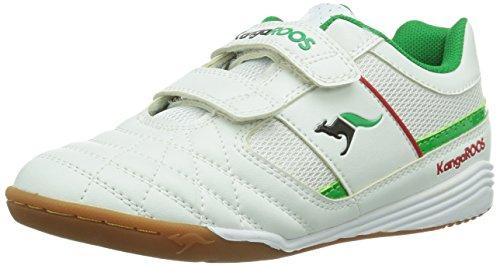 KangaROOS KangaCourt 3011 - Zapatillas deportivas para interior de material sintético infantil blanco - Weiß (white/green 008)