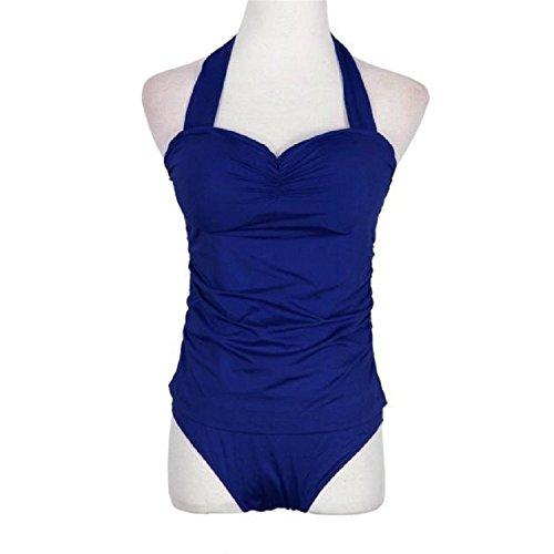 B Dressy Comfortable Fashion 2017 Hot Selling Women'sRetro Vintage One-Piece Bikini SwimwearPush up Dot Swimsuit,Large,Blue (Sims Jeans 2)