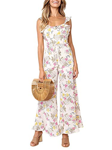 Yizenge Women's Casual Floral Print Wide Leg Jumpsuit Sleeveless Ruffle Strappy Long Pant Rompers ()