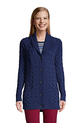 Lands' End Women's Petite Cotton Cable Drifter Shawl Cardigan Sweater