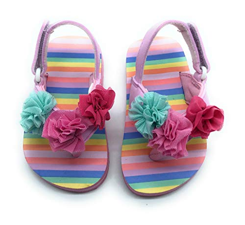 - Pixie Sweets Girls Summer Pink Sandals Flowers & Stripes Comfort Strappy Thongs for Toddler Girls (5)