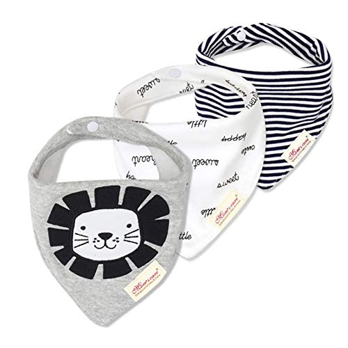3-Pack Newborn Baby Bibs Baby Bandana Drool Bibs for Drooling and Teething, 100% Organic Cotton and Super Absorbent Hypoallergenic Bibs for Baby Boys Baby Shower Gifts (Lion) -