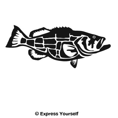 Goliath Grouper (Black - Facing as Shown - Medium) Decal Sticker - Saltwater Fish - Goliath Collection