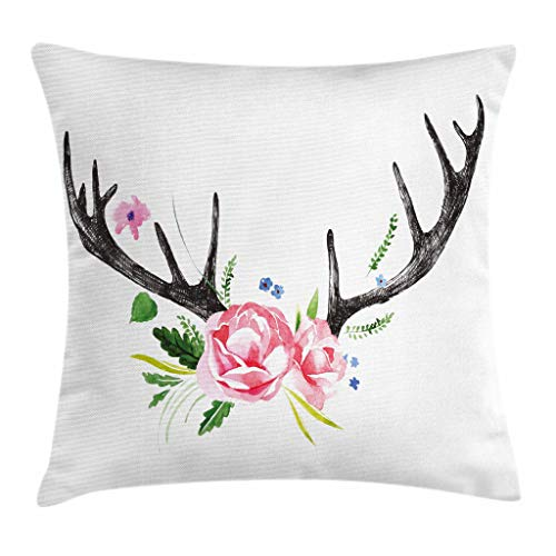 """Ambesonne Antler Throw Pillow Cushion Cover, Black Deer Horns with Pink Roses Floral Wreath Design in Watercolors Wildlife Art, Decorative Square Accent Pillow Case, 16"""" X 16"""", Charcoal"""