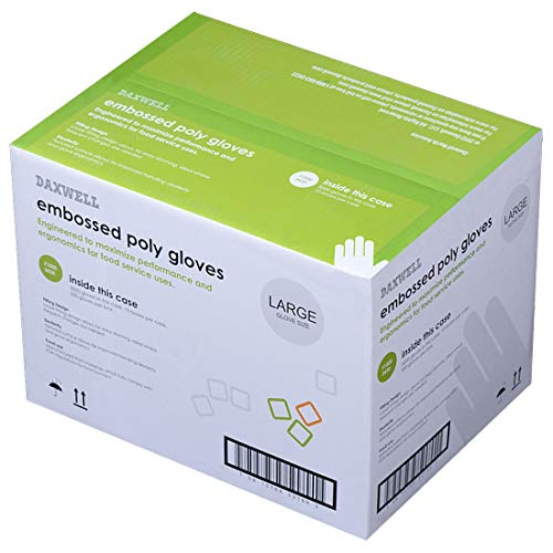 Daxwell F10003430 Gloves, Embossed Poly Gloves, Large (5,000; 10 Boxes of 500)