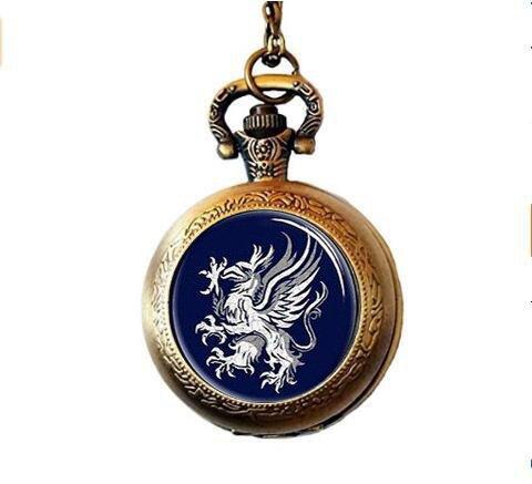 Watch Round Logo (hars Dragon Age Gray Wardens Pocket Watch Necklace, Symbol, Logo, Crest Jewelry,Glass Round)