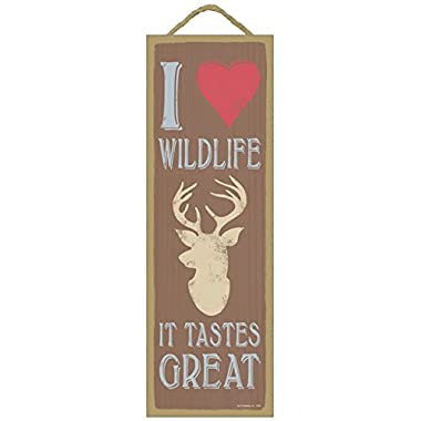 I (heart image) wildlife. It tastes great (deer head image) lodge / cabin primitive wood plaques, signs - measure 5  x 15  size.