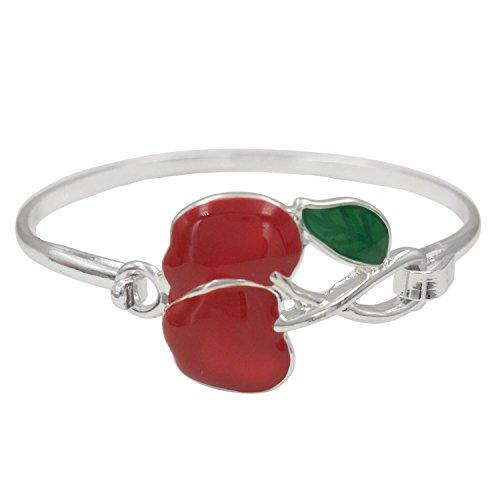 Bangle Boutique Designer Bracelets - Gypsy Jewels Cute Enamel Theme Multi Color Dainty Hook Bangle Bracelet (Red Cherry)