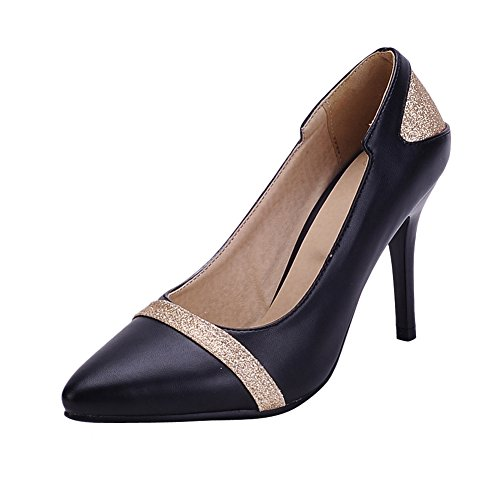 MissSaSa Damen high-heel Pointed Toe Low-cut Pumps mit Pailletten Schwarz