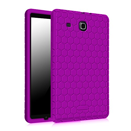 Fintie Silicone Case for Samsung Galaxy Tab E 9.6 - [Honey Comb Series] Light Weight [Anti Slip] Shock Proof Cover [Kids Friendly] for Tab E Wi-Fi/Tab E Nook/Tab E Verizon 9.6-Inch Tablet, Purple