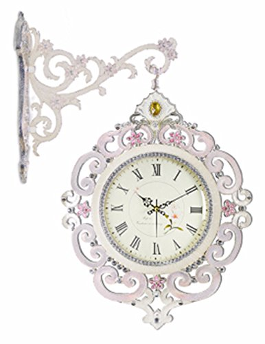 SUNQIAN-Korean double wall clock, double living room wall clock mute creative rural fashion table, large American Silver Pink,A by SUNQIAN